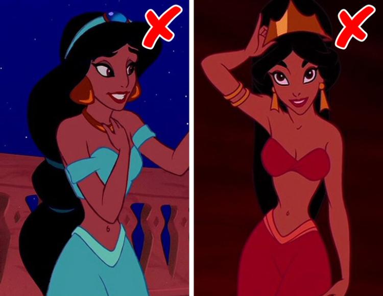 """Дрехите на Жасмин от """"Аладин"""" не са подходящи за онази ера. Въпреки че от Дисни обикновено се опитват да бъдат приблизително точни, с дрехите от ерата на Аладин, съвсем не се вписват. Действието се развива около 4-7 век, а арабските девойки са носели далеч по-консервативни облекла. Вероятно били с воали, които покривали всичко, освен очите им."""