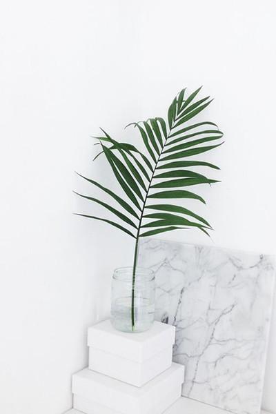 Единичен палмов лист. Ако обичате тропическата тема, но не искате нищо прекомерно, то един единствен голям палмов лист е достатъчен, за да добавите нотката зелено в дома си. снимка: Piterest/Daniela.